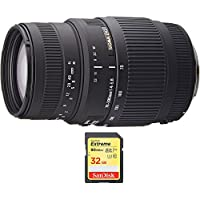 Sigma 70-300mm f/4-5.6 SLD DG Macro Telephoto Lens for Nikon Digital SLRs (5a9306) with Sandisk 32GB Extreme SD Memory UHS-I Card