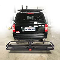 """Orion Motor Tech Hitch Mount Steel Cargo Carrier Luggage Basket, Fits 2"""" Receiver Hitch Hauler (Max. Load Capacity: 500 lb.)"""