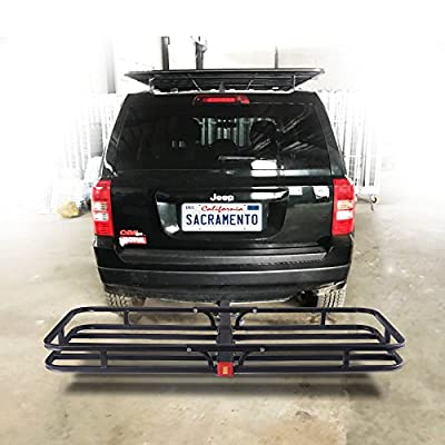Orion Motor Tech Hitch Mount Steel Cargo Carrier Luggage Basket, Fits 2 Inches Receiver Hitch Hauler (Max. Load Capacity: 500 lb.): Automotive