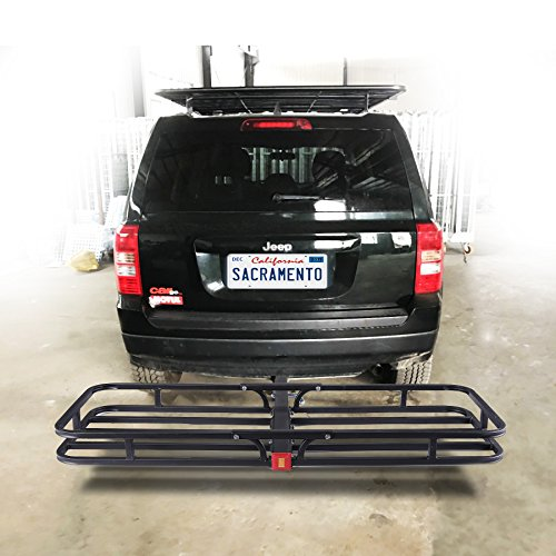 OrionMotorTech Hitch Mount Steel Cargo Carrier Luggage Basket, Fits 2