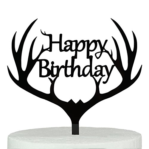 LOVENJOY with Gift Box Antler Happy Birthday Acrylic Cake Topper Black (5.9-inch)