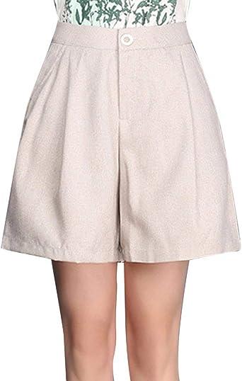 Pantalones Cortos Para Mujer Con Pliegues Vestidos Anchos Moda Para Mujer Pantalones Cortos Para Jovenes Pantalones Cortos Pantalones Cortos De Verano Pantalones Cortos De Cintura Alta Con Bolsillos Amazon Es Ropa Y Accesorios