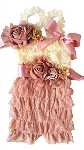 Rosy Kids Baby Girl Toddler Girl Ruffle Lace Romper Set, S (Baby Vintage Dress)