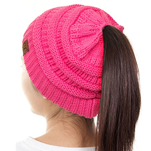ScarvesMe C.C Beanietail Ponytail Messy Bun Solid Ribbed Beanie Hat Cap (New Candy Pink)