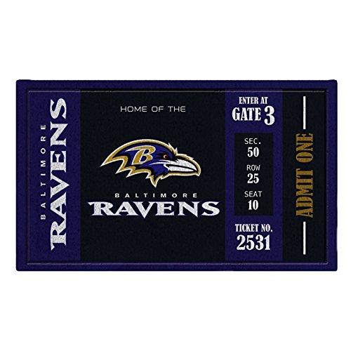 Team Sports America Baltimore Ravens Recyclable PVC Vinyl Indoor/Outdoor Weather-Resistant Team Logo Door Turf Mat