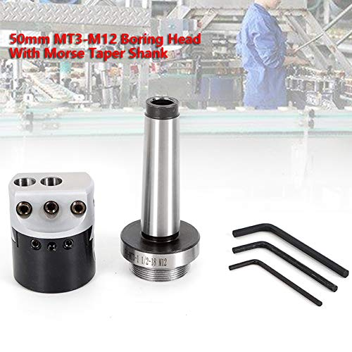 Taper Bar, TBVECHI Boring Head, Universal 50mm MT3-M12 Boring Head With Morse Taper Shank For Lathe Milling Tool (USA Stock)