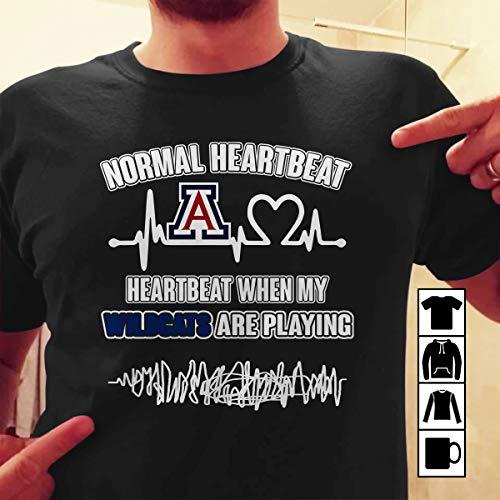 Arizona Wildcats Heartbeat When My Wildcats Playing T Shirt Long Sleeve Sweatshirt Hoodie Youth ()