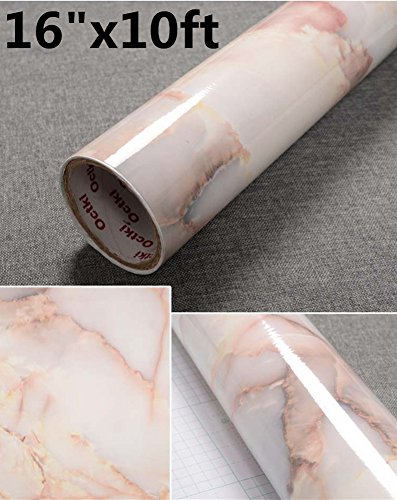 Yancorp Marble Contact Paper Removable Wallpaper Film Self-Adhesive Marble Sticker Kitchen Peel and Stick Backsplash Tile Countertop Furniture Shelf Liner 10ft (16