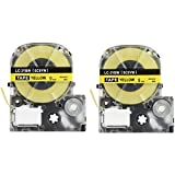 LK-3YBW Label Tape, LaBold 2 Pack Compatible Epson LabelWorks Label Maker Tape Refill Cartridge Cassette LC-3YBW9 LC-3YBW SC9YW LK-3YBW Black on Yellow 3/8'' X 26.2'(9mm x 8M)