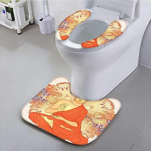 Philiphome Toilet Cushion Suit Decor Meditation Aura Thai Temple Ornamental Motive Spiritual Design Print Accessories Orange Non Slip Comfortable by Philiphome