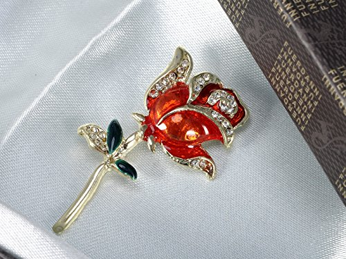 Alilang Golden Tone Crystal Rhinestone Hand Painted Single Stem Red Love Rose Brooch Pin by Alilang (Image #2)