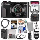 Cheap Canon PowerShot G7 X Mark II Wi-Fi Digital Camera with 64GB Card + Case + Flash + Battery & Charger + Tripod + Strap + Kit