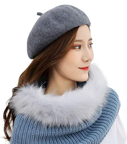 French Style Fall Winter Classic Barrent Hat Lightweight Casual Solid Color Wool Beret Gray for $<!--$9.99-->