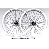 "26"" Wheel Mountain Bike WHITE DISC BRAKE and vbrake Brake Wheels, 7,8,9,10 SPEED CASSETTE TYPE, REDNECK XC1 double wall v section rims (26"" FRONT + REAR)"