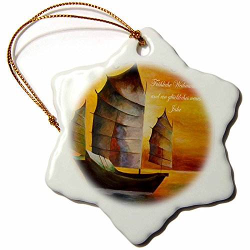 Taiche - Acrylic Painting -Sail Boat - Chinese Boats- sail boat, acrylic painting, sails,junks, brown, realism, sailors, nautical - 3 inch Snowflake Porcelain Ornament (orn_78706_1)