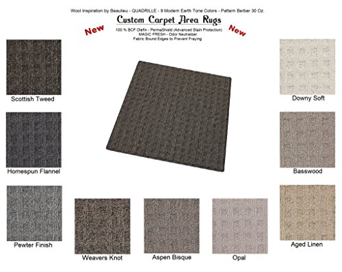 Area Runner Linen Rug (SQUARE 5'x5' Aged Linen - QUADRILLE - Custom Carpet Area Rugs & Runners - 30 Oz. Pattern Berber Style in Modern Earth Trones | 9 Colors to Choose From)