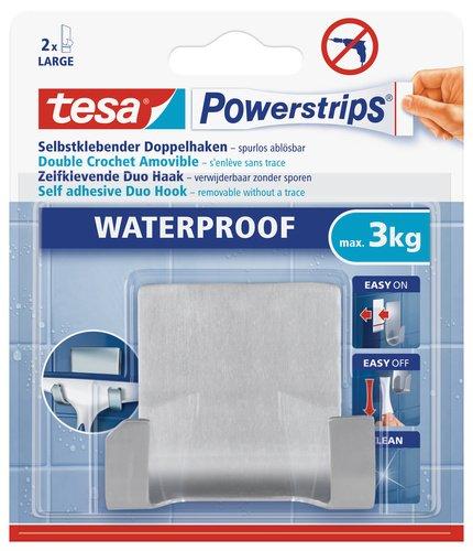 tesa 59710 Waterproof Powerstrip, Stainless Steel, Self-Adhesive and Removable Double Peg Hook by tesa UK