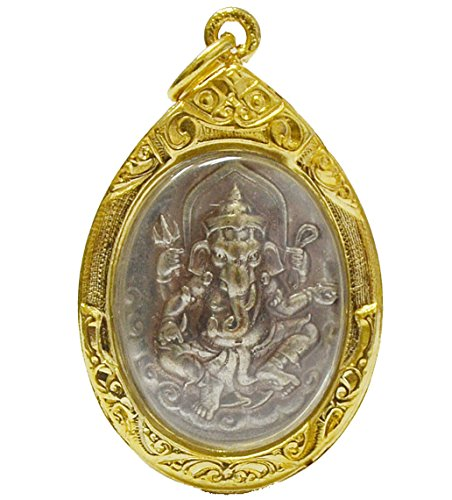 Hinduism and Buddhaism Lord Ganesh Ganesha Hindu Deity God Success Buddha Pendant Gold-plated-base Designer Locket-necklaces Thai Buddha Ganesh Necklace