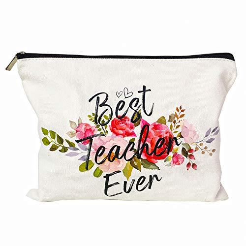 Teacher Appreciation Gifts Teacher Gifts Best Teacher Ever Teacher Gifts for Women Teacher Makeup Bag Pencil Pouch for Nursery Preschool High School (Best Teacher Bag Ever)