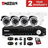 Cheap TMEZON 4CH Channel Full 960H Realtime HDMI DVR 800TVL Cameras IR Cut Outdoor CCTV Surveillance Security System P2P Scan Mobile iPhone View Remote Access 2TB Hard Drive