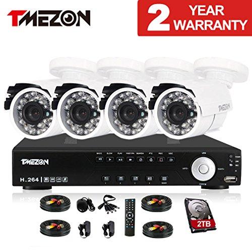 TMEZON 8CH Channel 960H HDMI Output P2P DVR Recorder 4x 800TVL Cameras Outdoor CCTV Surveillance Security System APP Mobile Access 2TB Hard Drive