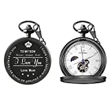 To My Son Love Mom Pocket Watch for Son Gifts from Mom (Love Mom Black Mechanical Pocket Watch)