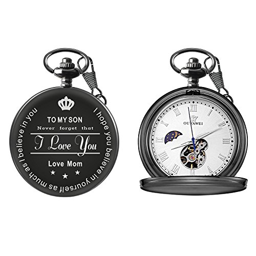 To My Son Love Mom Pocket Watch for Son Gifts from Mom (Love Mom Black Mechanical Pocket (Designer Pocket Watch)