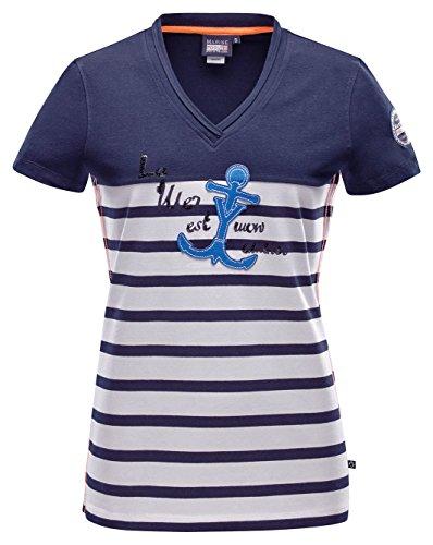 Marinepool–Camiseta de mujer Mallory Blanco - blanco/azul marino