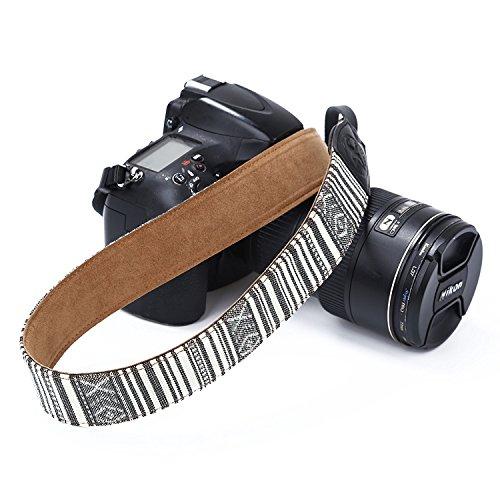 Leather Camera Strap Vintage Shoulder Neck Strap Belt Adjustable with Safety Harness Adapter Fits for Canon Nikon Sony Pentax Polaroid Camera and Dslr DSLR Camera