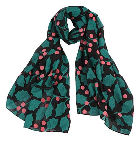 CBC CROWN CHRISTMAS THEME SCARF (VARIOUS PATTERNS AND DESIGNS) (BLACK WITH POINSETTIA)