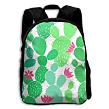 Kids School Bag Double Shoulder Print Backpacks Cacti Repeat Green Travel Gear Daypack Gift