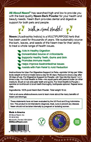 Neem Bark Powder, 5 LB Bulk, Organic, Fresh Cut, Slow Dried Under Shade - For Dental & Digestion Support - Supports Healthy Gums, Teeth, Skin & Digestive Tract - For Dogs, Cats and People! Made in USA by All About Neem (Image #3)