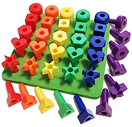 Peg Board Games for Toddlers - Colors & Shapes Educational Toys for 2 3 4 5