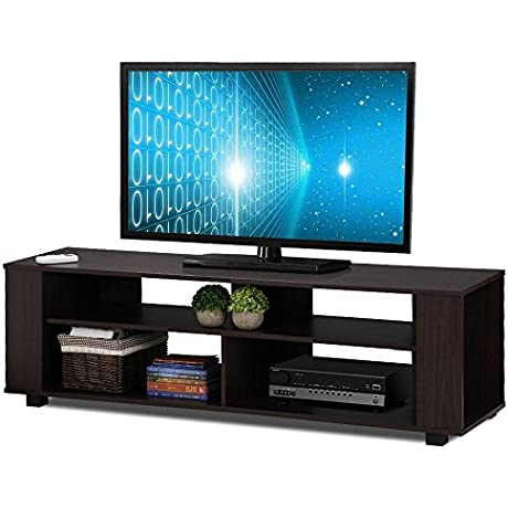 Topeakmart Wood TV Stand Component Stand Home Entertainment Furniture Dark Brown