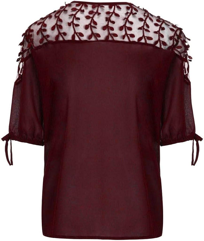 Solid Crotech Mesh Patchwork Tops Lace Up Lantern Half Sleeve Blouse Women Plus Size Chiffon T-Shirts