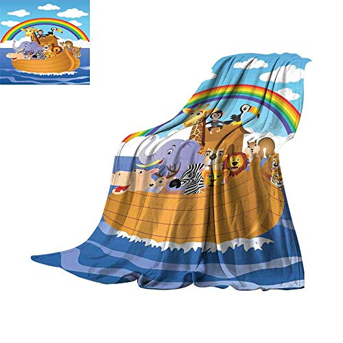 RenteriaDecor Cartoon,Soft Lightweight Blanket Cartoon Style Group of Animals in The Ark Childish Cheering Design Artwork Print Throw Rug Sofa Bedding W62 x L60 -