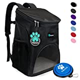 Premium Pet Carrier Backpack for Small Cats and Dogs by PetAmi | Ventilated Design, Safety Strap, Buckle Support | Designed for Travel, Hiking & Outdoor Use (Black)