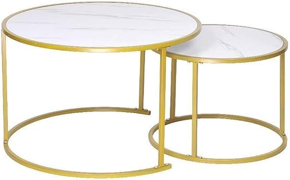 Amazon Com Wjmls Modern Round Nesting Coffee Table White Marble