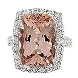 13.03 Carat Natural Morganite And Diamond Ring In 14K White Gold