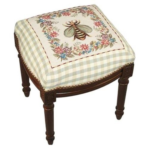 (KensingtonRow Home Collection Stools - Napoleonic Bee Needlepoint Stool - Vanity Seat - Upholstered Stool - Accent Furniture)