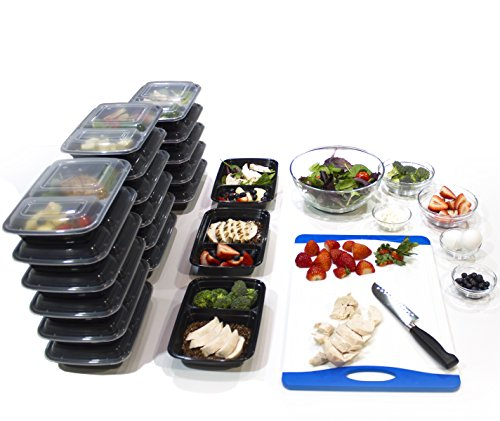 [20 Pack] 32 Oz. 2 Compartment Food Containers Durable BPA Free Plastic Reusable Food Storage Container Microwave & Dishwasher Safe w/Airtight Lid For Portion Control & 21 Day Fix by Misc Home (Image #3)'