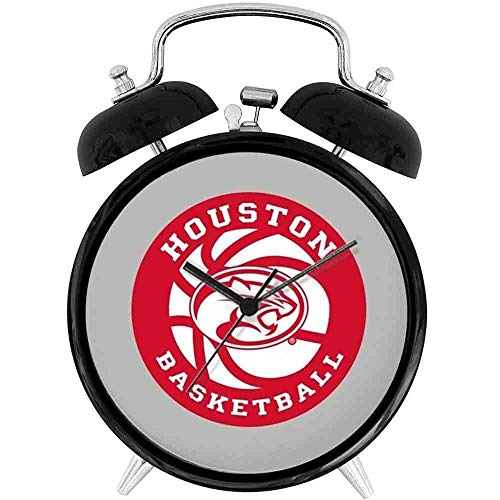 22yiihannz Desk Clock 4in Houston Basketball - Unique Decorative Battery Operated Quartz Ring Alarm Clock for Home,Office,Bedroom.