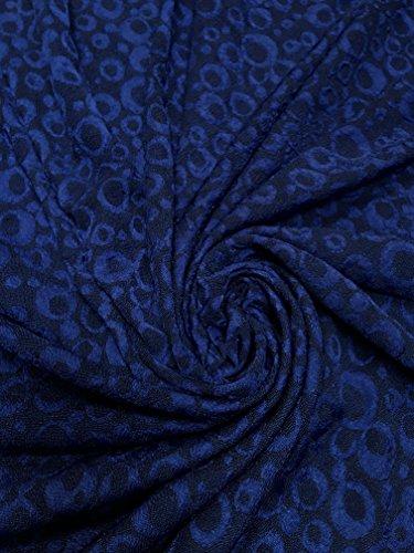 (Polyester Acetate Slinky Spandex Fukuro Jacquard Texture Fabric W/Circle Dots (Royal Blue))