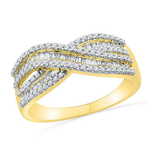 Dazzlingrock Collection 10kt Yellow Gold Womens Round Baguette Diamond Crossover Band Ring 1/2 Cttw