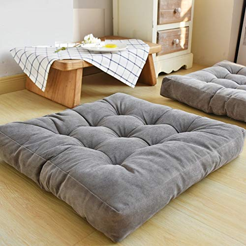(HIGOGOGO Solid Square Seat Cushion, Tufted Thicken Pillow Seat Corduroy Chair Pad Tatami Floor Cushion for Yoga Meditation Living Room Balcony Office Outdoor, Grey, 22x22 Inch )