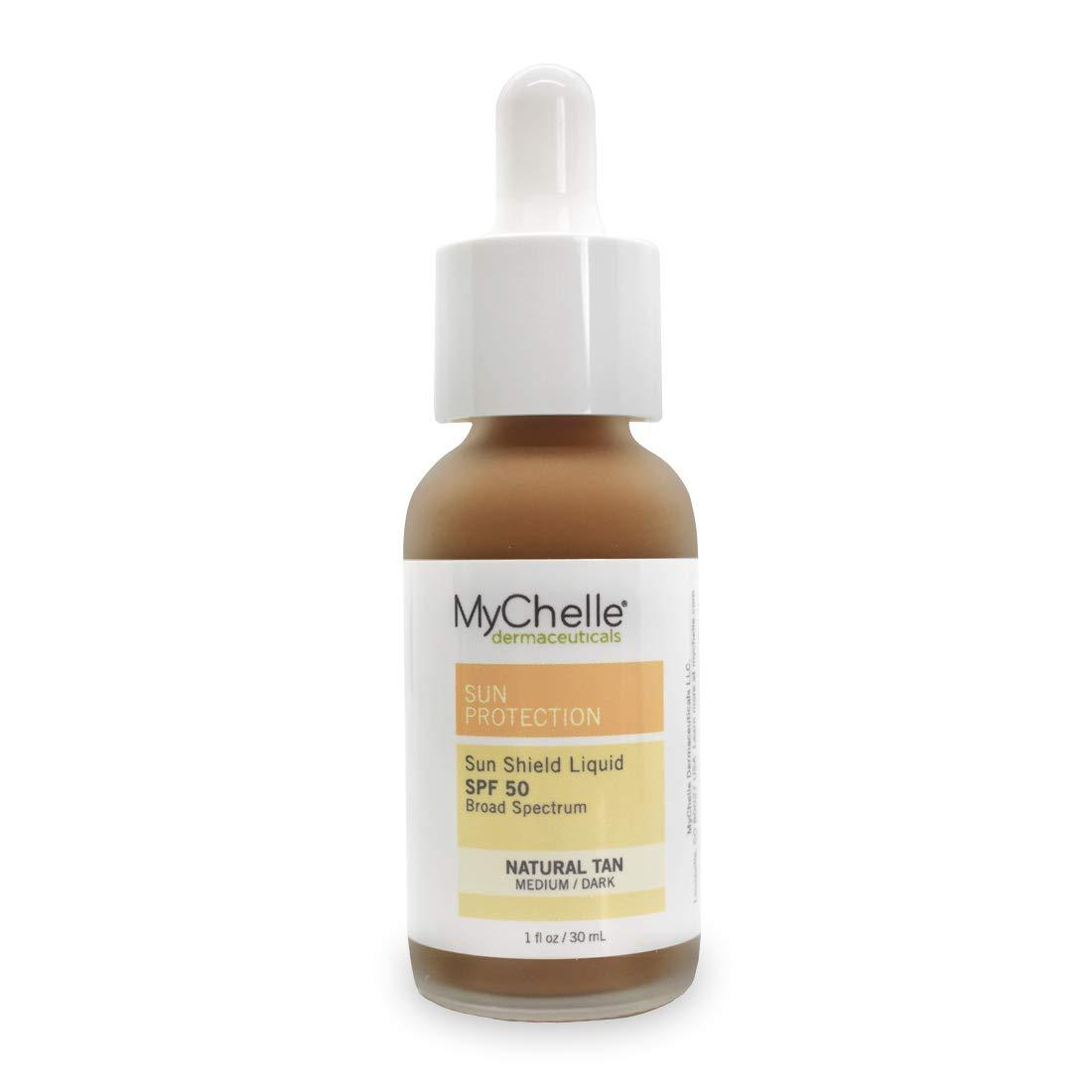 MyChelle Dermaceuticals Sun Shield Liquid Tint Spf 50 Natural Tan, oil-free daily Facial Broad Spectrum Sun Protection, All Skin Types, for Medium To Tan Complexion, Gluten Free & Vegan, 1 Fl Oz