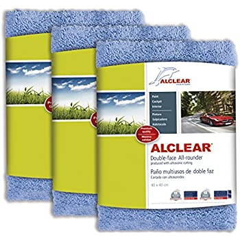 ALCLEAR 820203U_3 Ultra-microfiber Cloth Double-face All-rounder for car cleaning and polishing with ultrasonic cutting. Blue. Size: 15.75 x 15.75 in.