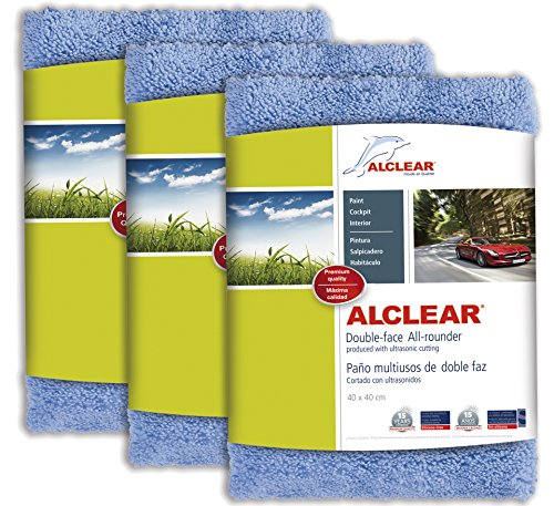 ALCLEAR 820203U_3 Ultra-microfiber Cloth Double-face All-rounder for car cleaning and polishing with ultrasonic cutting. Blue. Size: 15.75 x 15.75 in. Triple set.