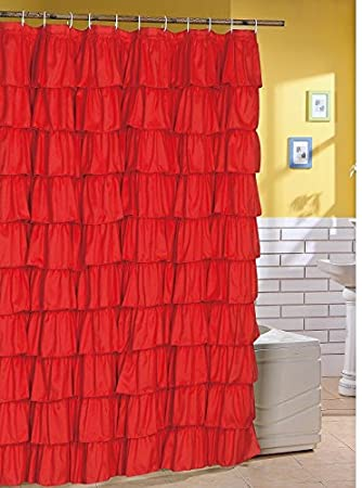 Flamenco Ruffle Shower Curtain RED