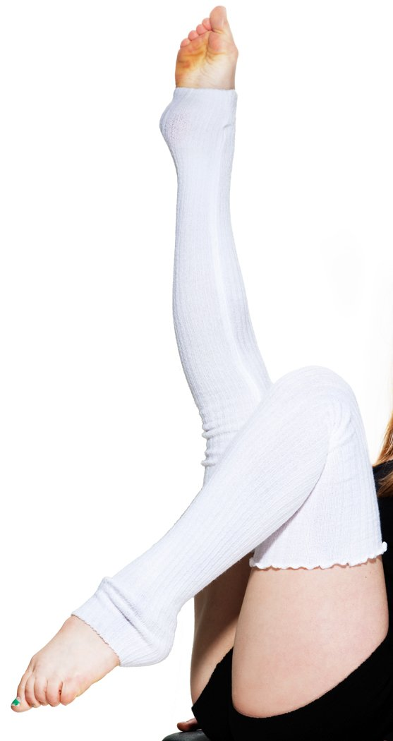 White KD dance New York 28 Inch Sexy Thigh High Women's Leg Warmers Stretch Knit Ruffled Top No Itch Soft Cozy Made In USA Cozy Ballet Yoga Pilates Fashion Diabetes